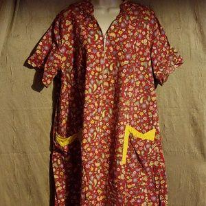Dresses & Skirts - Vintage Handmade Red Floral Muumuu Dress
